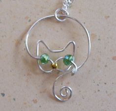 Delicate Silver Wire Cat Pendant Necklace by JillsCatsDogsAndMore