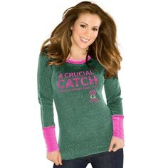 Touch by Alyssa Milano Green Bay Packers Ladies Breast Cancer Awareness Quick Pass Long Sleeve Thermal T-Shirt - Green
