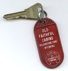 Old Vintage Yellowstone Hotel Old Faithful Cabins Fob & Room Key #702 Wyoming  $12.95