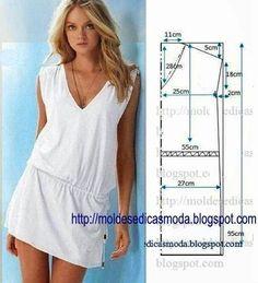 Há modelos de vestidos que são indispensáveis no guarda-roupa de uma mulher por essa razão hoje proponho este vestido branco fácil de fazer.