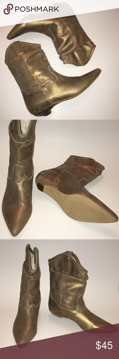 Metallic Gold Cowboy Boots Metallic Gold Cowboy Boots (Never Worn Only Tried On) Made in Italy Shoes