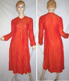 DOSA 100% Linen Shimmery Orange Iridescent Buttons Caftan Duster Dress 1...see more details at this link - http://stores.shop.ebay.com/vintagefluxed