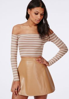 Missguided - Long Sleeve Bardot Crop Top Stripe Taupe