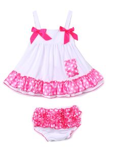Baby Girl White Dress with Matching Bloomers