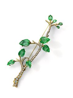 Homage to René Lalique Brooch, 2015 18K gold, silver, Colombian emeralds, diamonds