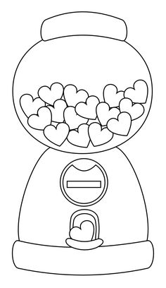 Little Scraps of Heaven Designs: Heart Gumball Machine Digi stamp FREE by jodie Coloring Book Pages, Coloring Sheets, Valentine Coloring Pages, Illustration Mode, Gumball Machine, Copics, Coloring For Kids, Free Coloring, Printable Coloring