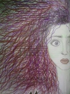 Drawing girl colours scared