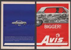 1962 AVIS Rent a Car BIG BIGGER Ford Galaxie 500 sedan travel stickers print ad