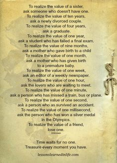 Lessons Learned in Life | Realize the value.