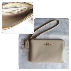 """COACH LEATHER CORNER ZIP WRISTLET *Beautiful Armor leather corner zip wristlet  •Brand new with tags •100% Authentic •STYLE:F66449 •Chalk color leather  •Gold heritage emblem •Top zip closure  •Two interior credit card slots •Dimensions: 6"""" length, 4"""" height, .5"""" width Coach Bags Clutches & Wristlets"""