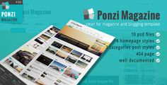 See More Ponzi Magazine Blog and News PSD Templateyou will get best price offer lowest prices or diccount coupone