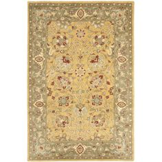 Safavieh Handmade Traditions Gold/Sage Wool Rug (4' x 6') , Size 4' x 6' (Cotton, Border)