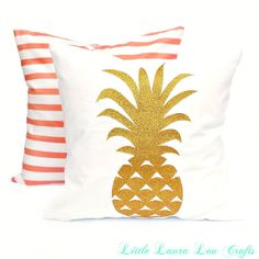 Coral Stripe or Pineapple Pillow Cover,Tropical Pillow Cover, Boho,Pineapple,Decorative Pillow, Summer Pillow, Pineapple Decor, Gift for Her