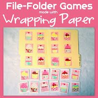 A fun, easy, and inexpensive way to make your own file-folder games is by using Wrapping Paper ! Supplies: File-Folders W. Preschool Learning, Toddler Preschool, Toddler Activities, Toddler Games, Free Preschool, Toddler Fun, File Folder Activities, File Folder Games, File Folders