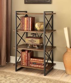 Verdana III Collection Bookcase Furniture of America small bookshelf metal x-shaped structure with wooden shelves in a medium weathered oak finish Furniture, Shelves, Industrial Furniture, Interior, Small Bookshelf, Industrial Design Furniture, Home Decor, Cool Furniture, Furniture Design