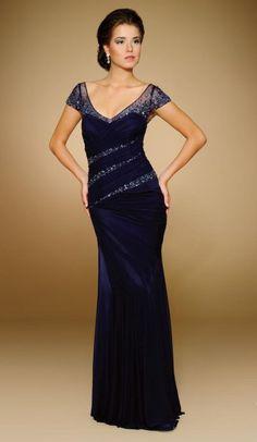 Rina Di Montella 1815 Cap Sleeve V Neck Illusion Gown image