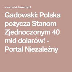 Gadowski: Polska pożycza Stanom Zjednoczonym 40 mld dolarów! - Portal Niezależny