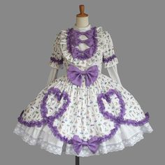 Purple And White Long Sleeves Bows Sweet Lolita Dress