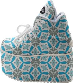 Blue and Grey Geometric Platform from Print All Over Me