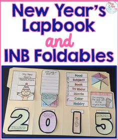 New Year's lapbook and Interactive Notebook INB Foldables - Reflect on the past year and make goals with your students for the new year!