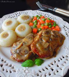 Schab w Sosie Pieczarkowym - Przepis - Słodka Strona Polish Recipes, Polish Food, Dumplings, Baked Potato, Pork, Food And Drink, Menu, Chicken, Dinner