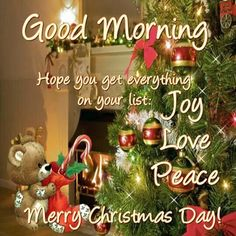 Good Morning! Hope you get everything on your list: Joy, Love, Peace. Merry Christmas Day! #Christmasquotes #Merrychristmasquotes #Shortchristmasquotes #2020Christmasquotes #Merrychristmas2020quotes #Christmasgreetings #Inspirationalchristmasquotes #Cutechristmasquote #Christmasquotesforfriends #Warmchristmaswish #Bestchristmasquote #Christmasbiblequote #Christmaswishesforfamily #Christmascaptions #Festivechristmasquote #Merrychristmasimage #Merrychristmaspicture #Santaclausquote… Merry Christmas Message, Merry Christmas Quotes, Christmas Blessings, Christmas Messages, Merry Christmas And Happy New Year, Christmas Themes, Christmas Holidays, Christmas Prayer, Monday Blessings