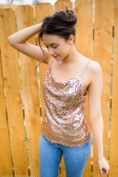 Looking for the perfect top for a girls night out on the town? Look no further. Our Serena top is oh-so-chic. In a rose gold sequin design with gathered detailing at the front, it is the perfect top to wear with your favorite black skinny jeans and heels. Night Out Outfit, Night Outfits, Summer Outfits, Fall Outfits, Curvy Outfits, Dressy Outfits, Festival Tops, Edm Festival, Edm Outfits