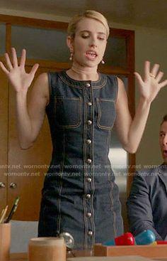Chanel's denim button front dress on Scream Queens.  Outfit Details: https://wornontv.net/60591/ #ScreamQueens