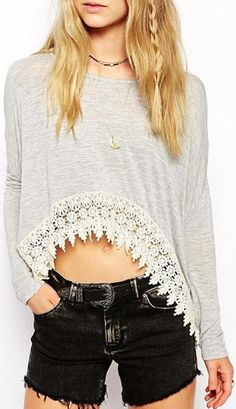 Long Sleeve Lace Decorated Grey T Shirt