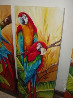 papagayo Watercolor Bird, Watercolor Paintings, Colorful Drawings, Art Drawings, Painting Patterns, Fabric Painting, Bird Pencil Drawing, Parrot Painting, Kerala Mural Painting