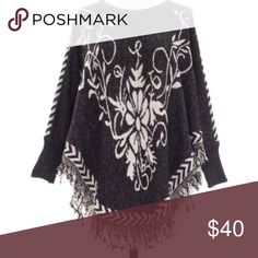 Black and white unique poncho cape OS Coming soon!!! One size fits most- like if you want to be notified when it arrives Sweaters Shrugs & Ponchos