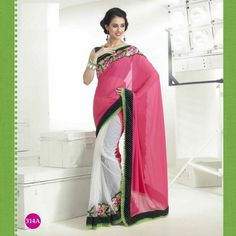 Georgette Pink-White Saree