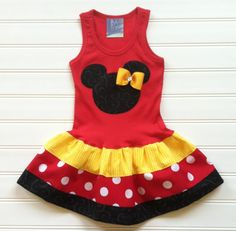 Girls Custom Dress Girls Tank Dress Girls Dresses Red Yellow Black Dress Kids Baby Toddlers Sizes 6-9 12 18 24 Months Girls 2 3 4 5 6 8 on Etsy, $26.00