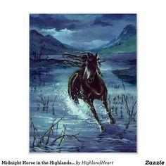 Midnight Horse in the Highlands Poster Celtic Fantasy Art, Moose Art, Horses, Highlands, Prints, Poster, Animals, Design, Animales