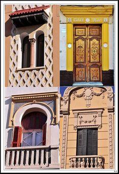 Melilla doors by Photowalk Melilla Modernista Spanish Architecture, Spain Holidays, Cadiz, Spain Travel, Malaga, Hiking Trails, Museums, Vintage Posters, Morocco