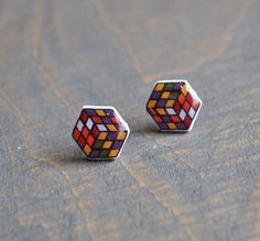 Retro Rubik's Cube 80's toy Resin Earrings