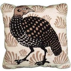 Contemporary needlepoint tapestry pillow of a Grouse by Fine Cell Needlework. Inspired by historical tiles.