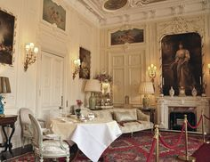Today: A close up of the small side of the White Drawing Room with its pretty French styled furniture. Connecting to this room through those doors – is the dining room.