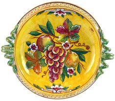 ceramic platters   Deruta Italian Ceramic Round Handled Platter