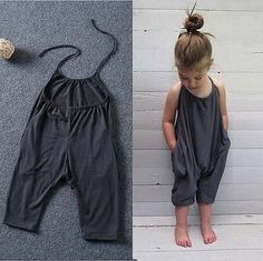 Carmen jumpsuit We love seeing your little ones in jumpsuits. This grey jumpsuit is casual but drapes just right. Features: - Jumpsuit - Cozy + soft cotton - Jumpsuits and Romper Fashion Kids, Baby Girl Fashion, Toddler Fashion, Sewing For Kids, Baby Sewing, Baby Girl Dresses, Baby Dress, Dresses Uk, Fashion Dresses
