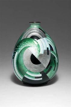 Camille Fauré (1874 -1956), Limoges, Enamel Decorated Copper  Vase.