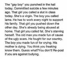 I reposted this pin because I hate Bullying. I was the one getting bullied in elementary because people were to dang jealous of me Sad Quotes That Make You Cry, Stories That Will Make You Cry, Sad Love Stories, Try Not To Cry, Touching Stories, Mood Quotes, True Quotes, Funny Quotes, Fact Quotes
