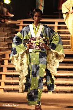 Designed by Serge Mouangue. Kimono with African prints..love the concept