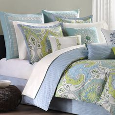 Bring alluring appeal to your guest room or master suite with this eye-catching cotton comforter set, featuring an exotic paisley-inspired motif.