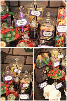 Love the gummy snake as a part of the candy display :)