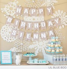 A Frozen Winter Birthday Party Free Printables with Snowflakes and Snowmen in Turquoise, Light Blue, Grey and White via Ashley Hackshaw / l...