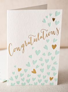 Heartfelt Congratulations letterpress card (with gold foil) from Smock Paper