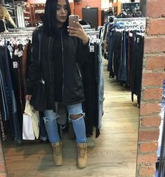 Winter/Fall - |Long Black Bomber Jacket| |Long Black Shirt| |Ripped Blue Jeans| |•Timberlands Camel|