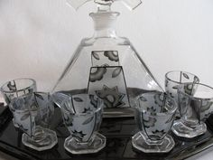BOHEMIAN GLASS SET for liquor DECANTER TUMBLERS on the glass tray ART DECO 1930s #ArtDeco #Bohemia