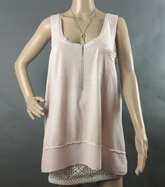 Woman's Large ANTHROPOLOGIE Pure+Good Tunic Tank, Pale Pink, Sheer Accents #AnthropologiePureGood #TankTunic